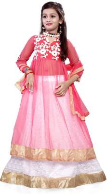Fashion Duds Baby Girl's Lehenga Choli Ethnic Wear Embroidered Lehenga, Choli and Dupatta Set(Pink, Pack of 1)