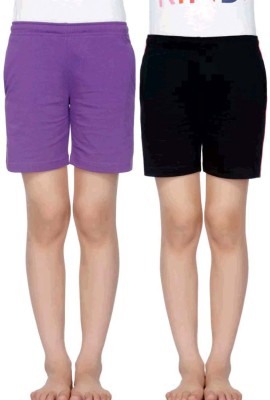 Dyca Short For Girls Casual Solid Cotton Blend(Multicolor, Pack of 2)
