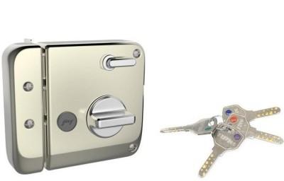 Godrej TRIBOLT ULTRA+XL DEADBOLT SATIN NICKEL 1CK 4 KEYS Lock(SATIN SILVER)