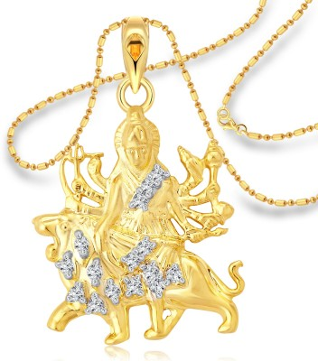 Vighnaharta Lord Tirupati Balaji 18K Yellow Gold Cubic Zirconia Alloy Pendant