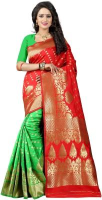 Pehnava Woven Banarasi Polycotton, Jacquard Saree(Red, Green, Beige)