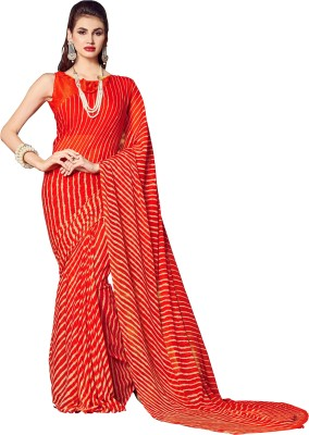 SGM Printed, Striped Leheria Chiffon Saree(Red, Orange) Flipkart