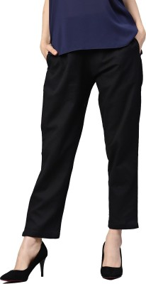 Harpa Black Solid Regular Fit Women Black Trousers