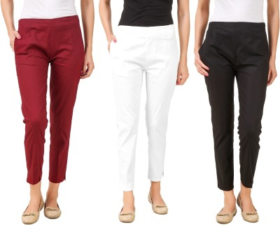 Q-Rious Regular Fit Women Black, White, Maroon Trousers