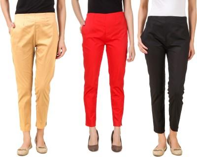 Q-Rious Regular Fit Women Red, Black, Beige Trousers