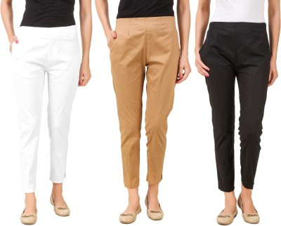 Q-Rious Regular Fit Women Black, Brown, White Trousers