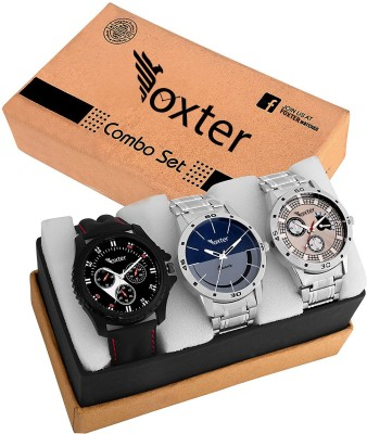 Foxter Combo Of Three Metallic And Leather Super Quality Watch Watch  - For Men