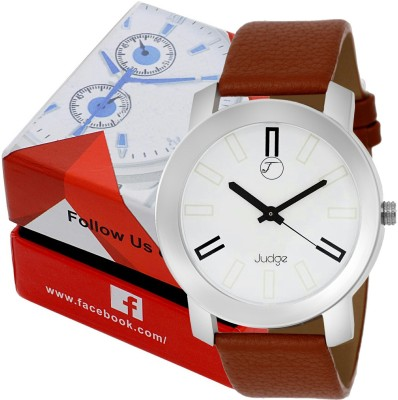 judge fis36 brown lather fogg strap caron look casual wear watch Watch  - For Boys