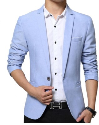One Click Solid Single Breasted Party, Casual Men Blazer(Light Blue)