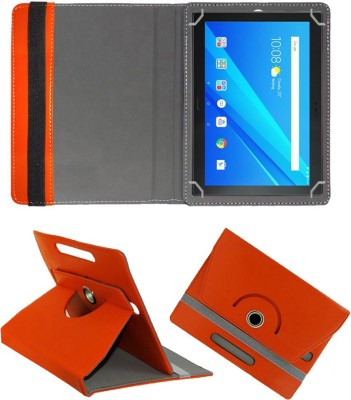 Fastway Flip Cover for Lenovo Tab 4 10 Plus 16 GB 10.1 inch with Wi-Fi+4G Tablet(Orange, Cases with Holder, Artificial Leather)