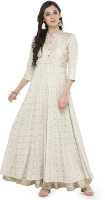 Varanga Women Printed Anarkali Kurta(White) at flipkart