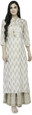 Varanga Women Printed Straight Kurta(White) at flipkart