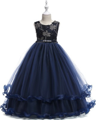 SSK FASHION Girls Maxi/Full Length Party Dress(Dark Blue, Sleeveless)
