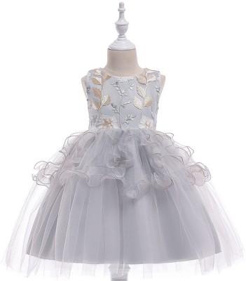 SSK FASHION Girls Midi/Knee Length Party Dress(Grey, Sleeveless)