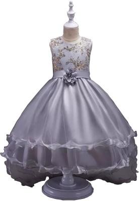 SSK FASHION Girls Maxi/Full Length Party Dress(Grey, Sleeveless)