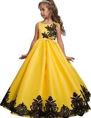 SSK FASHION Girls Maxi/Full Length Party Dress(Yellow, Sleeveless)