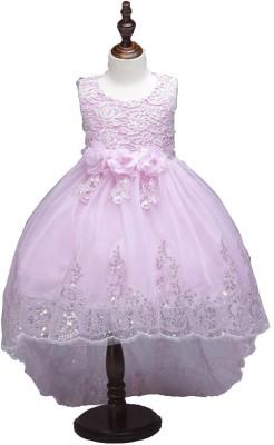 SSK FASHION Girls Maxi/Full Length Party Dress(Pink, Sleeveless)