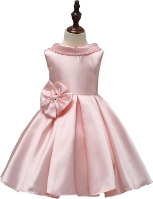 SSK FASHION Girls Midi/Knee Length Party Dress(Pink, Sleeveless)