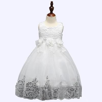SSK FASHION Girls Maxi/Full Length Party Dress(White, Sleeveless)