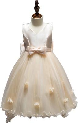 SSK FASHION Girls Midi/Knee Length Party Dress(Yellow, Sleeveless)