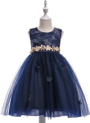 SSK FASHION Girls Midi/Knee Length Party Dress(Dark Blue, Sleeveless)