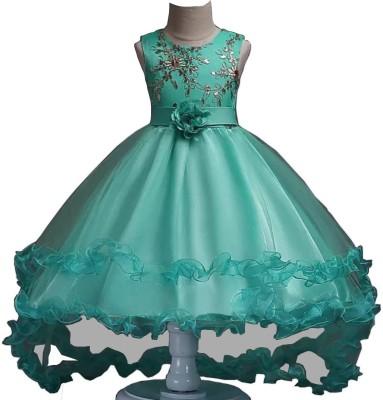 SSK FASHION Girls Maxi/Full Length Party Dress(Light Green, Sleeveless)