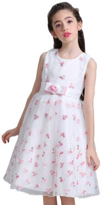 SSK FASHION Girls Midi/Knee Length Party Dress(White, Sleeveless)