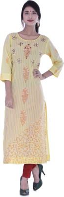 Palakh Women's Embroidered, Block Print Straight Kurta(Yellow)