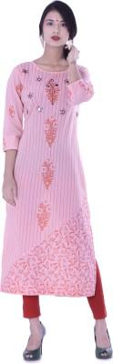 Palakh Women's Embroidered, Block Print Straight Kurta(Pink)