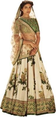 Zeel Clothing Digital Print, Embroidered, Floral Print Semi Stitched Lehenga, Choli and Dupatta Set(Yellow, Green)