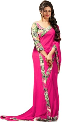 Maruti Creation Printed, Solid Daily Wear Georgette Saree(Pink)
