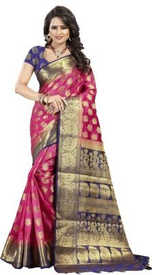 INDIAN BEAUTIFUL Self Design Kanjivaram Jacquard Saree(Pink)