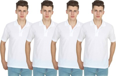 FIRSTLIKE Solid Men Polo Neck White T-Shirt(Pack of 4)