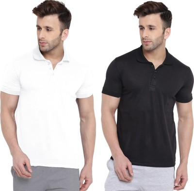 BEN HUSHERS Solid Men Polo Neck White, Black T-Shirt(Pack of 2)