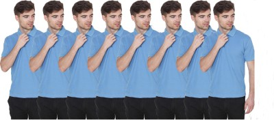 FIRSTLIKE Solid Men Polo Neck Light Blue T-Shirt(Pack of 8)