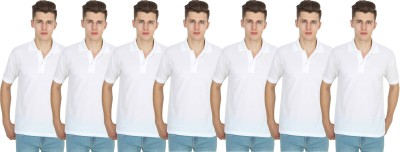 FIRSTLIKE Solid Men Polo Neck White T-Shirt(Pack of 7)
