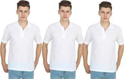 FIRSTLIKE Solid Men Polo Neck White T-Shirt(Pack of 3)
