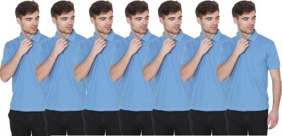 FIRSTLIKE Solid Men Polo Neck Light Blue T-Shirt(Pack of 7)