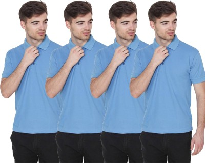 FIRSTLIKE Solid Men Polo Neck Light Blue T-Shirt(Pack of 4)