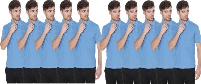 FIRSTLIKE Solid Men Polo Neck Light Blue T-Shirt(Pack of 10)