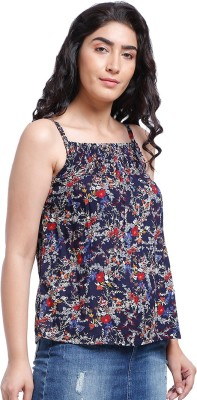 ROZVEH Casual Shoulder Strap Floral Print Women Multicolor Top