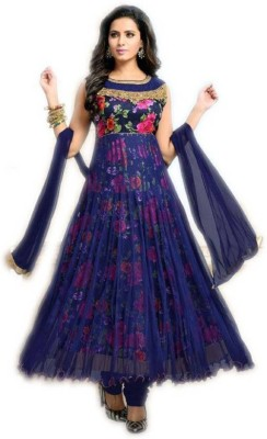 Shiv fashion Women Printed Anarkali Kurta(Blue)