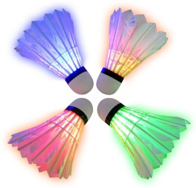 QUINERGYS ™ Badminton LED Lights Colorful Plastic Indoor or Outdoor Glow Enjoyable Night Time Sport Shuttlecock Feather Shuttle  - White(Moderate Speed(77),use in countries AT sea level with perfectly fine temperature, 77, Pack of 4)