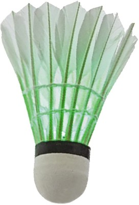 QUINERGYS ® Colorful LED Badminton Set Shuttlecock Dark Night Glow Birdies Lighting for Outdoor / Indoor Sports Activities Badminton Nets Feather Shuttle  - White(Slow (75), use in very hot countries above sea level, 75, Pack of 4)