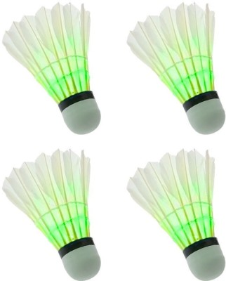 QUINERGYS ® LED Badminton Shuttlecock, Colorful LED Badminton Shuttlecock Dark Night Glow Birdies Lighting with Premium Delicate Goose Feather Feather Shuttle  - White(Moderate Speed(77),use in countries AT sea level with perfectly fine temperature, 77, Pack of 1)