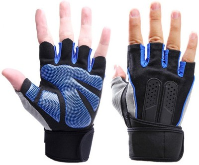 GymWar Gym Gloves Fitness Weight Lifting Gym Glove Training Fitness bodybuilding Workout Wrist Wrap Exercise Glove for Men Women Gym & Fitness Gloves (Free Size, Blue)