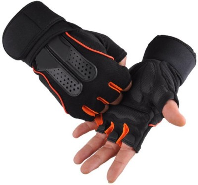 DreamPalace India GYM GLOVES, Gloves For Gym, Gloves For Men, Gym Glove, Workout Gloves, Fitness Gloves, Sport Gloves, Weight Lifting Gloves Gym & Fitness Gloves (Free Size, Orange)