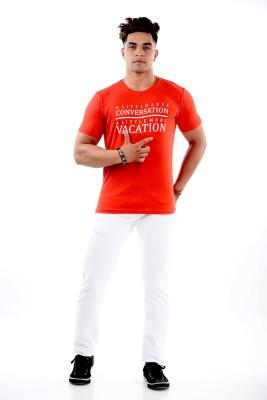 Dobby Elvis Printed Men's Round Neck Orange T-Shirt