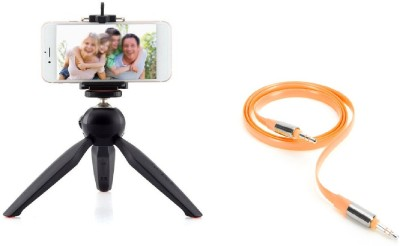 Rewy Mini Tripod,YunTeng Quality Mini Tripod Mount + Smartphone Clamp Clip Desktop Self-Tripod for Digital Camera & iPhone 6/6 Plus/5S/5C/5 & Samsung Galaxy S6 S5 Note 2 3 4 and other Android Smartphones Tripod(Black, Supports Up to 2000 g)  available at flipkart for Rs.499