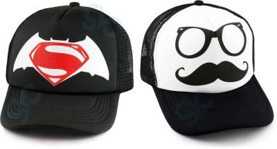 GVC Printed Half Net Cap - Baseball Style Cap For Boys And Girls Cap(Pack of 2)